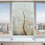 YQ WHJB 3D Fensterfolie milchglas,Europäische Statische dekorfolie,Wasserdicht PVC Kein kleber Badezimmer Schiebetür Nicht verblassen Cling-Plissee-A 60x90cm(24x35inch)
