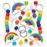 Baker Ross Make Your Own Rainbow Wooden Keyring & Bag Dangler (Pack Of 4) For Kids To Decorate