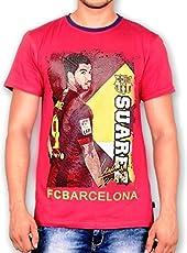F.C. Barcelona T Shirt Mens Suarez Round Neck