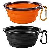 Pliable Voyage 2-Pack Dog Bowl, MAXIN Silicone Cat Bowl Portable Pet Food Abreuvoir, Dish Pliable Cup Extensible pour animaux de compagnie, approuvé par la FDA. [Noir et Orange]