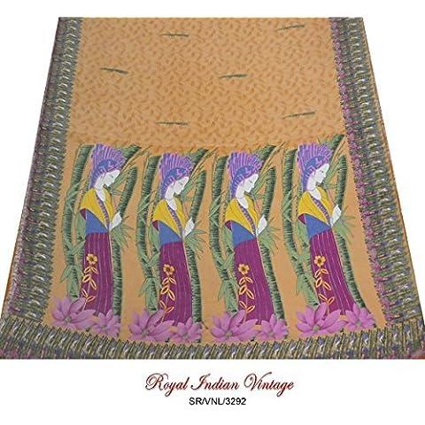 marrón sari indio hoja impresa vintage tejido artesanal de seda crepé utilizado 5YD reciclado tela dama de diseño hecho a mano las mujeres cortina cubra vestido envuelven sari