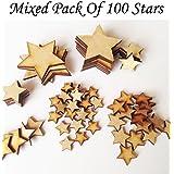 MDF Star Mix–psck de 100estrellas Varios Tamaños–Adornos para manualidades (Madera Sin Pintar)