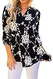 Mujeres Camisa Elegante Blusa Mangas Largas Camiseta Polsillo Escote V (Negro 2, XXL/EU 48-50)