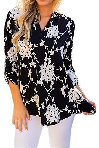 Mujeres Camisa Elegante Blusa Mangas Largas Camiseta Polsillo Escote V (Negro 2, L/EU 40-42)