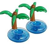 FiYenn Aufblasbare Getränkehalter - 2 Stück Palme Island Cartoon Aufblasbares Flaschenhalter Badespielzeug Schwimmen Pool Untersetzer für Getränke Bier Fruchtsaf