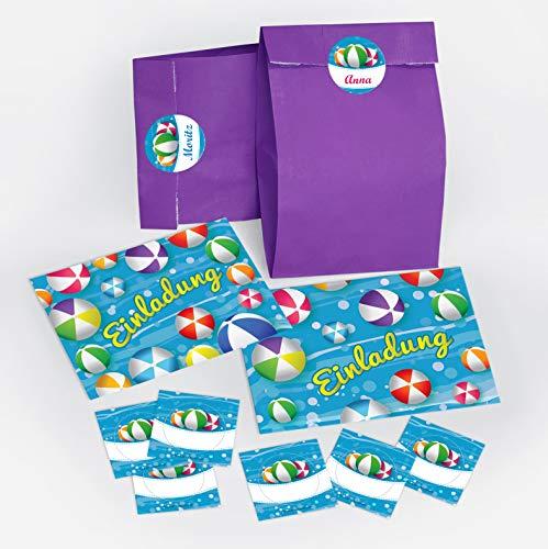 12 Einladungskarten zum Kindergeburtstag Schwimmbad Party Wasserbälle für Mädchen und Jungen / Pool Party / bunte Einladungen zum Geburtstag inkl. 12 Umschläge, 12 Party-Tüten / lila, 12 Aufkleber