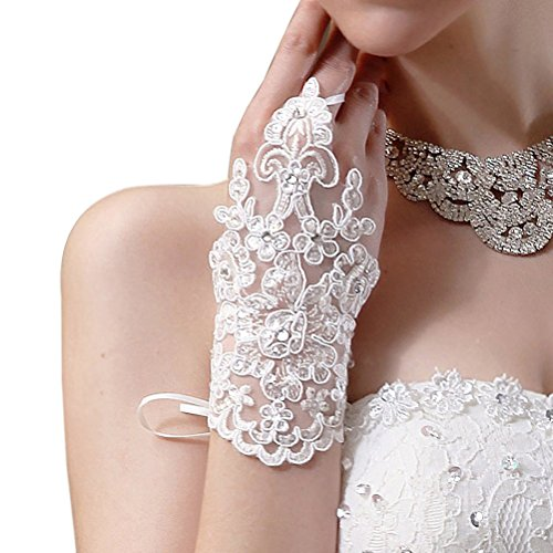 ULTNICE Rhinestone Satin Pair of Bridal Lace Fingerless Gloves (White)