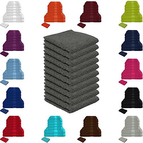 Handtuch Sets Frottier 500g/m2 in vielen Größen und Farben, sowie 10er Sparpack, 100% Baumwolle, 10er Pack Seiftücher Anthrazit