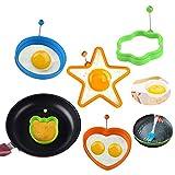 Stampo in silicone per uova e pancake, antiaderente, per fritture e pancake, anelli di cottura in silicone - cuore, fiore, orso, stella, rotondo la colazione, separatore uovo + pennello per cottura