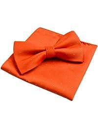 Alizeal Mini Topos-Pajarita y Pañuelo para Hombre Naranja