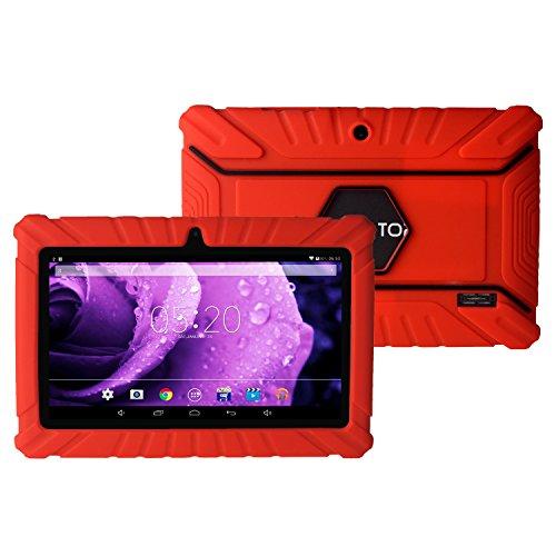 Pugo TOP 7 Zoll Tablet PC Case Cover Fall Tasche Abdeckung Schutz Hülle Kinder schlagfest Silikon Gummi Abdeckungs Fall für Android Schutztasche Schutzhülle (Rot)