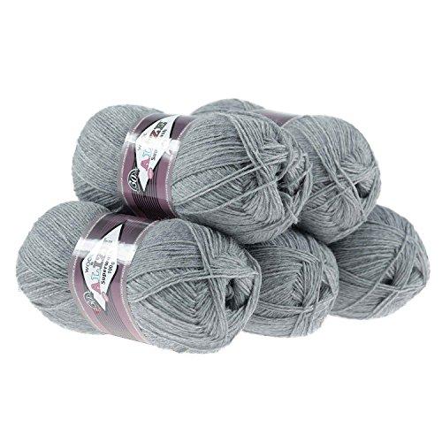 maDDma ® 500g Sockenwolle Alize Superwash #21 grau Strumpstrickgarn Wolle Socken Stricken -