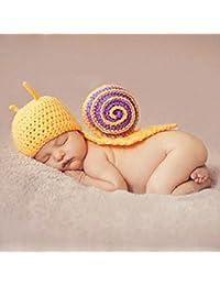 Happy Elements recién nacido bebé decorado foto lactante punto ganchillo crochet Disfraz azules Elfo gorro con pompón conejito sombrero suave ropa + pantalones a rayas