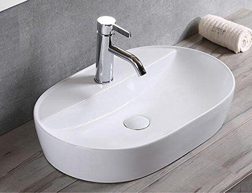 Lavabo da appoggio in ceramica, piccolo, ovale, colore bianco, 50x38x12
