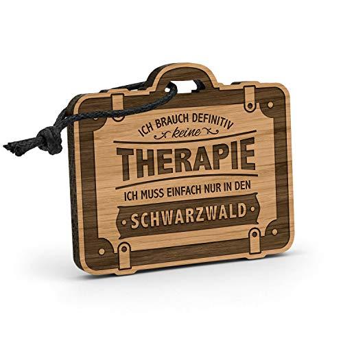 Fashionalarm Schlüsselanhänger Therapie - Schwarzwald aus Holz mit Gravur   Geschenk-Idee Spruch Wander-Urlaub Reisen Wandern Baden Württemberg, Eiche -