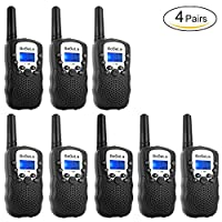 Bobela T388 Best Cool Walkie Talkies as Christmas Stocking Fillers Gift for EU Children / Twin Way Radio for Kids Riding / Long Range Walky Talky with Light for Adults Seniors Hiking ( Black 8 Pack )