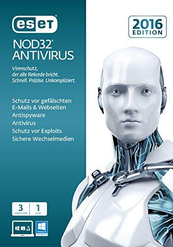 Eset NOD32 Antivirus 2016, 3User, 1 Jahr - Seguridad y antivirus (3User, 1 Jahr, Intel / AMD, Windows 10 Education, Windows 10 Education x64, Windows 10 Enterprise, Windows 10 Enterprise x64, Wi, Windows Home Server 2011, DEU, PC)