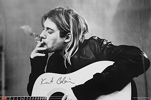 Nirvana Poster Kurt Cobain Smoking & Guitar
