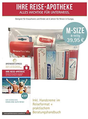 Reiseapotheke von Apotheken-Express (M-Size) 8-teilig inkl. einer Handcreme von Pharma Nature und praktischem Beratungshandbuch -