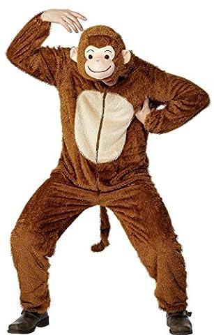 Smiffys, Unisex Affen Kostüm, Jumpsuit mit Kapuze, Größe: L, (Adulti Tuta)