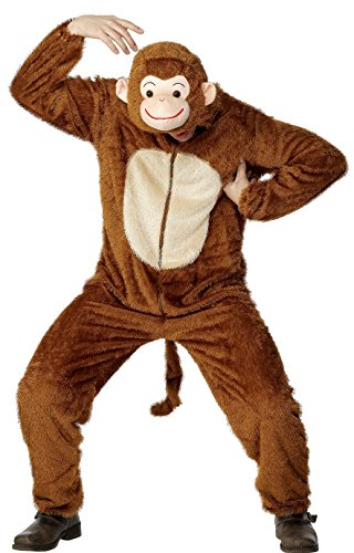 Smiffys, Unisex Affen Kostüm, Jumpsuit mit Kapuze, Größe: L, 31677 (Jumpsuit Kostüm)
