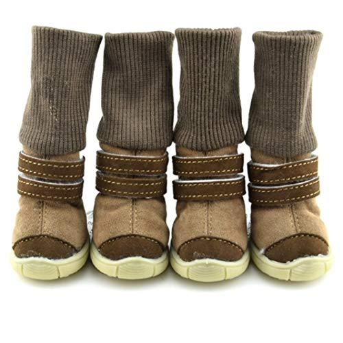 AMURAO Winter Anti-Rutsch-Pet Schuhe aus weicher Baumwolle Leder wasserdicht Hund Booties warmen Gürtel Dekoration Stiefel -