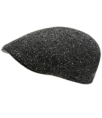 EveryHead Herrenflatcap Flatcap Schiebermütze Schirmmütze Golfermütze Herbstmütze Sportcap Gatsby meliert für Männer (EH-30037-W17-HE0-18-XL) in Schwarz, Größe XL inkl Hutfibel
