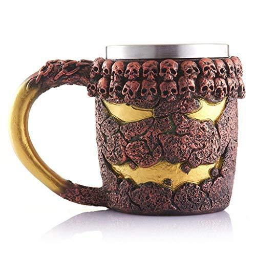 Xigeapg 3D Lange Weijing Tasse Becher Edelstahl Harz Kaffee Tasse Reise Tee Glas Bier Glas Trink Becher M?nner Geschenk Vatertag Weihnachten Halloween (A)