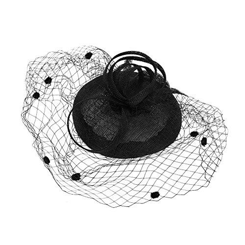 Fascinator Damen Frauen Pillbox-Hut aus Mesh vintage Haarschmuck Haar Clip elegant Kopfschmuck Kopfbedeckung Damenhut Hutnetz für Tea Party Fasching Karneval Cocktail Royal Ascot Kirche Jockey Club