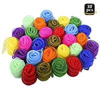 Geboor Juggling Dance Scarves, 30 pcs Square Dance Scarf Magic Movement Scarves Performance Props Accessories 24