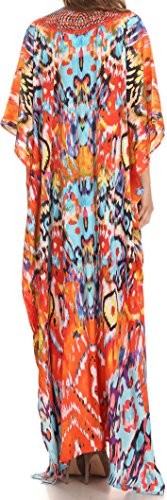 Sakkas Georgettina Flowy Strass V-Ausschnitt, langen Kaftan Kleid / Vertuschung Sunset Orange / Multi