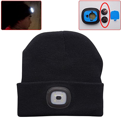 51cyZ v4TiL. SS500  - EBILUN LED Knit Cap, Unisex Fashion Winter Warmer 4LED Knitted Hat Rechargeable Handsfree Flashlight Cap for Outdoor…