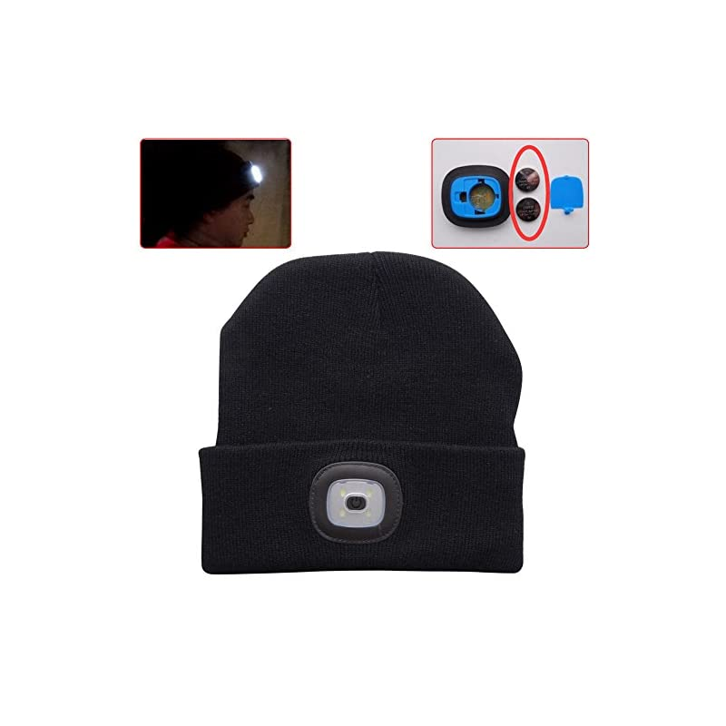 EBILUN LED Knit Cap, Unisex Fashion Winter Warmer 4LED Knitted Hat Rechargeable Handsfree Flashlight Cap for Outdoor Fishing, Hunting, Camping, Barbecuing, Running Black