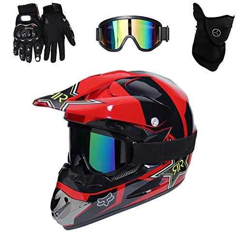 Mopedhelm Motocross Helm, PKFG Serie HM-710 Motorradhelm Set Herren Damen Fullface Motorrad DH Cross Offroad Enduro Quad Mountainbike Helme mit Visier Brille Handschuhe...