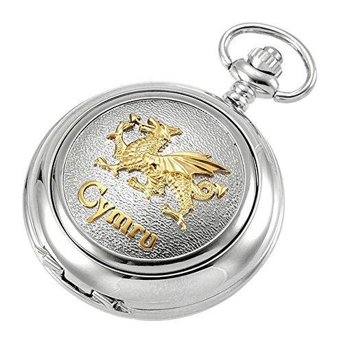 Silber/Gold Walisischer Drache Quarz Kette Taschenuhr von Woodford