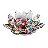 Unechte Blumen,Künstliche Deko Blumen YunYoud Kristall Glas Lotus Blume Kerze Tee Lichthalter Buddhistischer Kerzenständer Gefälschte Blumen Braut Hochzeitsblumenstrauß für Haus Garten Party Blumenschmuck (B, Durchmesser: 80 mm)