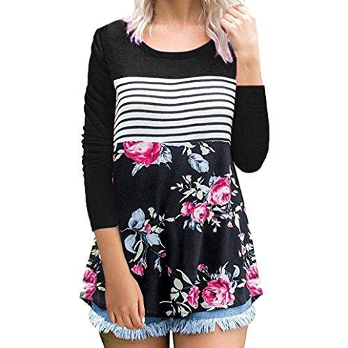 8ddb179bf57d MORCHAN Femmes Floral Rayures Imprimé O Cou À Manches Longues T-Shirt  Tunique Tops Blouse