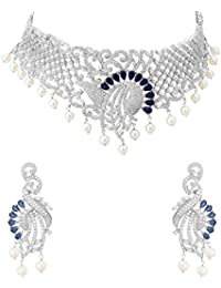 Valentine Gifts: Voylla Silver Plated Necklace Set With Heavy Embellishment For Women, Girlfriend & Wife