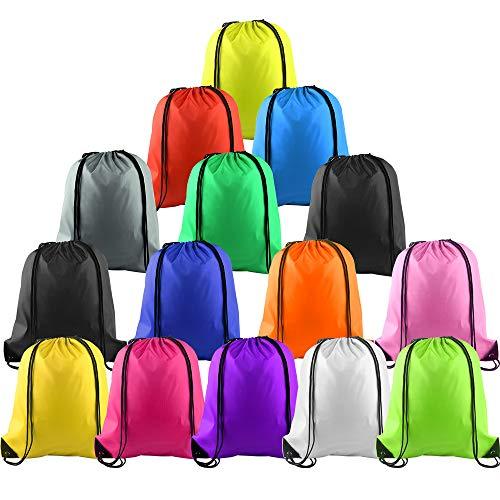 FEPITO 15 Pcs Polyester Kordelzug Rucksack Tasche Sack Pack Cinch Tote für Kinder Gym Reisen