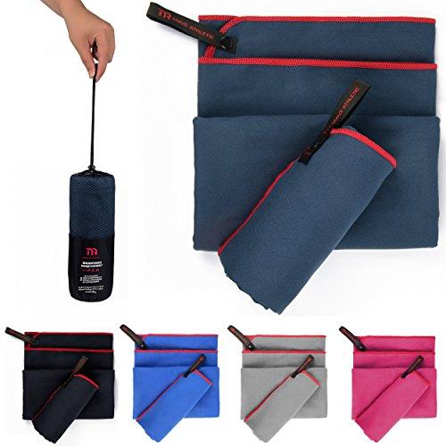 Premium Mikrofaser Handtücher im 2er-Pack mit Tragetasche [140cm x 70cm & 70cm x 40cm] (Marineblau)