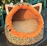 njhswlti Algodón de Invierno a Prueba de Humedad cálido patrón de Guepardo Mascota Nido
