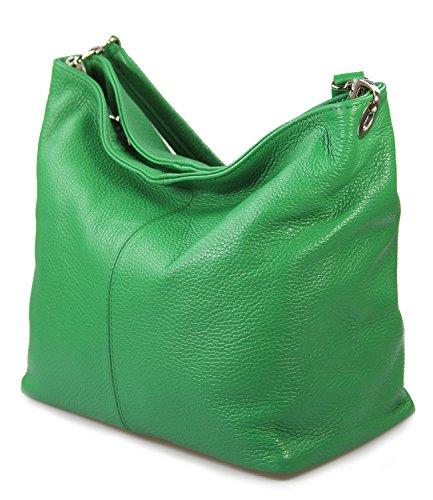 Io.Io.Mio italienische Handtasche Ledertasche Damentasche Schultertasche echt Leder freie Farbwahl , 26-32x27x15 cm (B x H x T) Apfelgrün