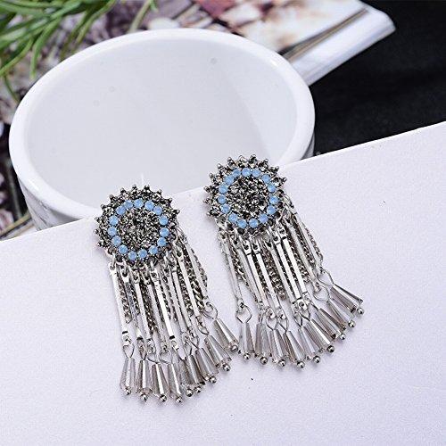 Zarte Mode Diamant Ohrringe Mode Sonnenblume Kristall Quaste Kette Ohrstecker Ohrringe , blaues Meer -