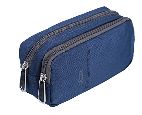 Pencil Cases, Large Pencil bags with Two Zip Compartments (Blue)