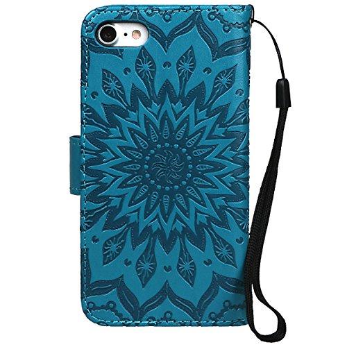 """xhorizon MLK Imprimés Fleurs faux cuir Flip Support magnétique Étui à cartes pour iPhone 7 / iPhone 8 [4.7""""] avec un stylet avec 9H Film tempéré Bleu"""