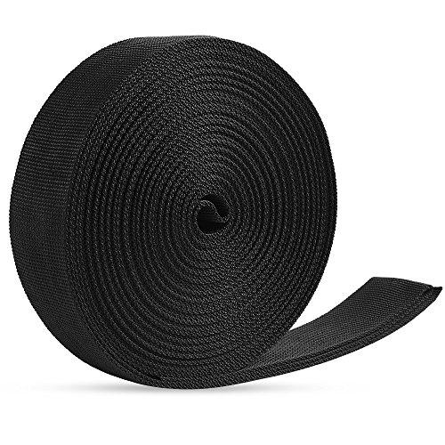 JALAN 38mm Polypropylen Gurtband für Taschen, Rucksäcke, Gürtel, Geschirre, Schlingen, Halsbänder, Schleppseile ca. 10 m - schwarz (Polyester-schlinge)