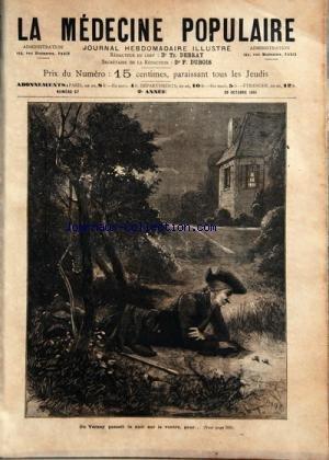 MEDECINE POPULAIRE (LA) [No 57] du 20/10/1881 - DU VERNEY PASSAIT LA NUIT SUR LE VENTRE - LA GALE - STATISTIQUE MORTUAIRE DU CHLOROFORME EN ANGLETERRE - LA CATHEDRALE ET L'ECOLE DE MEDECINE DE MONTPELLIER - LA CAUTERISATION - THERMO-CAUTERE - LE TRAITEMENT - LES PARTS