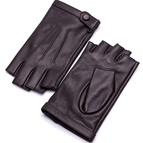 YISEVEN Damen Fingerlose Schaffell Lederhandschuhe Halbfinger Autofahrer-Handschuhe Winter Leder, Braun XL/8.0