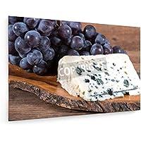 Queso roquefort francés con las uvas negras sobre fondo de madera - 30x20 cm - Impresión en lienzo textil - Muro de arte - Cooking & Eating