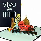 """'3D pop up carte """"Viva Italia–Carte Italie Carte de vœux vacances 3D, Italie, Voyage Bon d'achat Italie, 3D chèque cadeau, carte de félicitations Popup, Gutschein Italie rundreise, carte à rabat 3D..."""